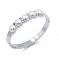 Rhodium Plated With Pearl Hinged Bangle