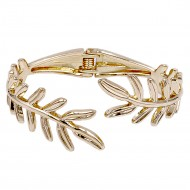 Gold Plated Leaf Shape Cuff Bangle