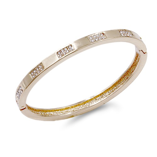 Gold Plated Hinged Bangle Bracelet