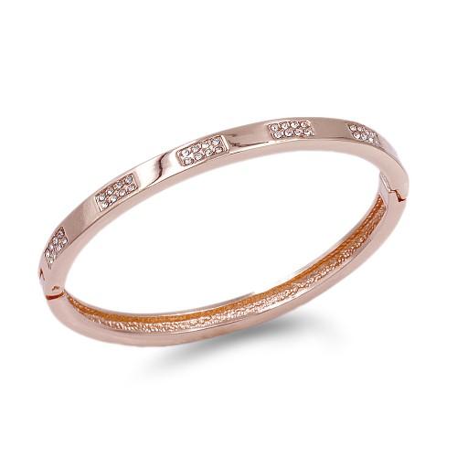 Rose Gold Plated Hinged Bangle Bracelet