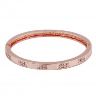 Rose Gold Plated Hinged Bangle Bracelet