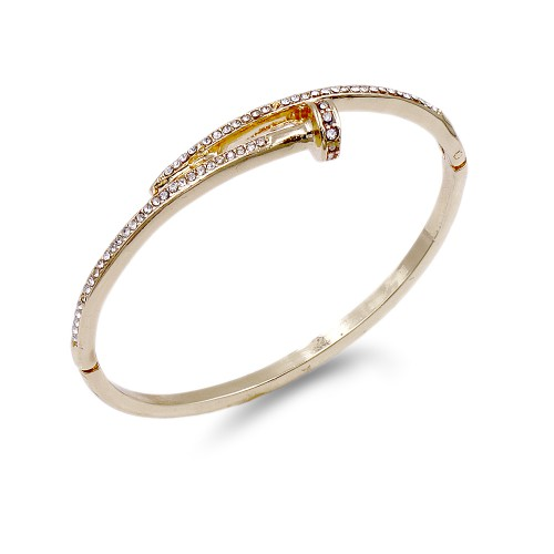 Gold Plated With Clear Crystal Nail Shape Bangles