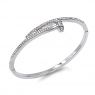 Rhodium Plated With Clear Crystal Nail Shape Bangle