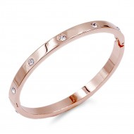 Rose Gold Plated with Crystal Bangle