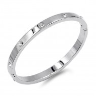 Rhodium Plated with Crystal Bangle