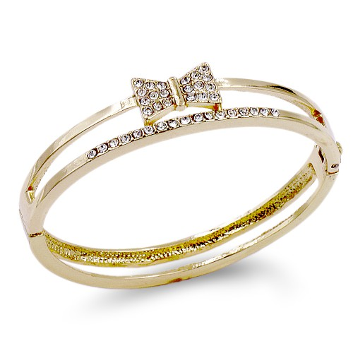 Gold Plated With Bow with Crystal Hinged Bangles