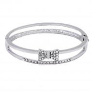 Rhodium Plated Bow with Crystal Hinged Bangles