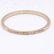 Gold Plated with Crystal Hinged Bangle