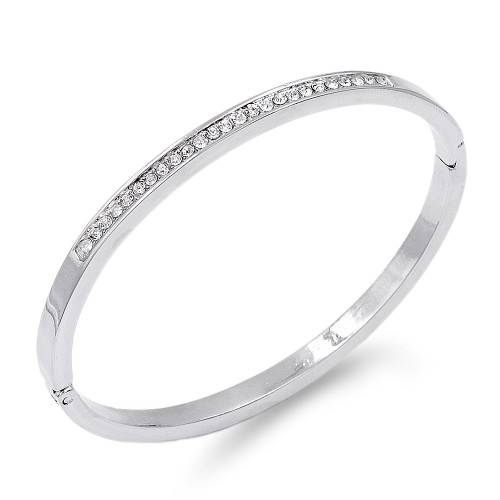 Rhodium Plated with Crystal Hinged Bangle