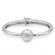 Rhodium Plated Hinged Bangles