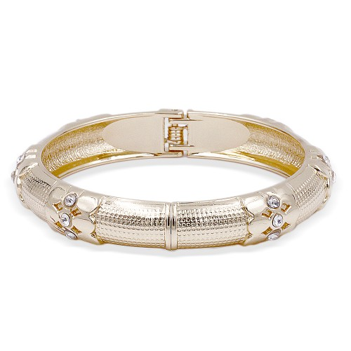 Gold Plated with Crystal Hinged Bangles