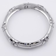 Rhodium Plated with Crystal Hinged Bangles