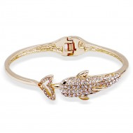 Gold Plated Dolphin with Crystal Hinged Bangles