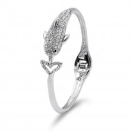 Rhodium Plated Dolphin with Crystal Hinged Bangles