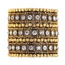 "Hematite 3-Lines Crystal Fashion Trendy Stretch Bracelet 7"""