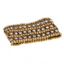 """Burnished Gold With 3-Lines Crystal Fashion Trendy Stretch Bracelet 7"""""""