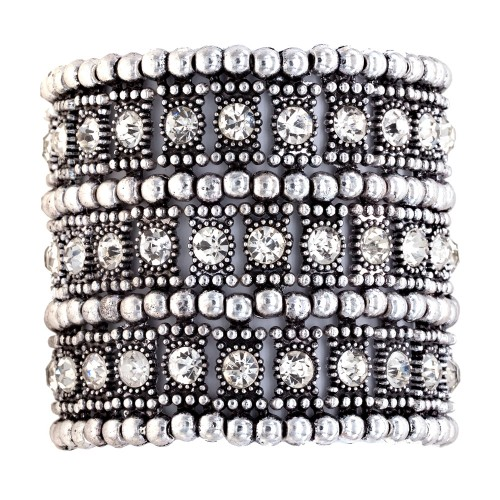 """Burnished Silver with 3-Lines Crystal Fashion Trendy Stretch Bracelet 7"""""""