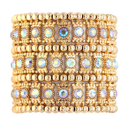 """Gold Plated With AB 3-Lines Crystal Fashion Trendy Stretch Bracelet 7"""""""