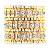 Gold Plated with 3-Lines Crystal Fashion Trendy Stretch Bracelet 7""