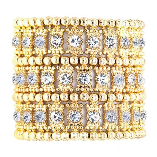 """Gold Plated with 3-Lines Crystal Fashion Trendy Stretch Bracelet 7"""""""