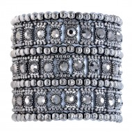 Hematite 3-Lines Crystal Fashion Trendy Stretch Bracelet 7""