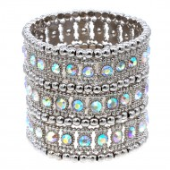 Rhodium 3-Lines AB Crystal Fashion Trendy Stretch Bracelet 7""