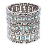 """Rhodium 3-Lines AB Crystal Fashion Trendy Stretch Bracelet 7"""""""