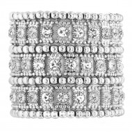 Rhodium Plated AB 3-Lines Crystal Fashion Trendy Stretch Bracelet 7""