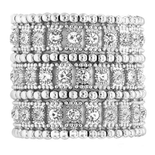 "Rhodium Plated AB 3-Lines Crystal Fashion Trendy Stretch Bracelet 7"""