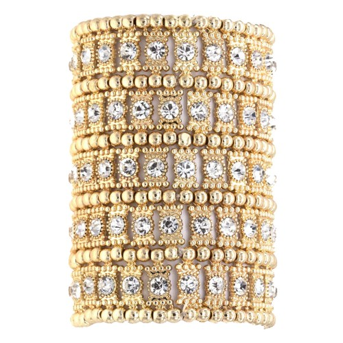 Gold Plated with Crystals 5 Rows Stretch Bracelet Fashion Trendy Jewelry Party Prom for Women