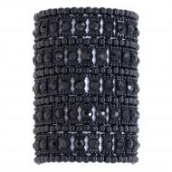Jet Black Crystals 5 Rows Stretch Bracelet Fashion Trendy Jewelry Party Prom for Women