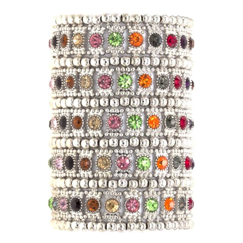 Rhodium Plated With Multi-Color Crystals 5 Rows Stretch Bracelet Fashion Trendy Jewelry Party Prom for Women