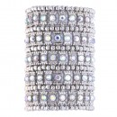 Gold Plated With AB 5 Rows Stretch Bracelet Crystals Fashion Trendy Jewelry Party Prom for Women