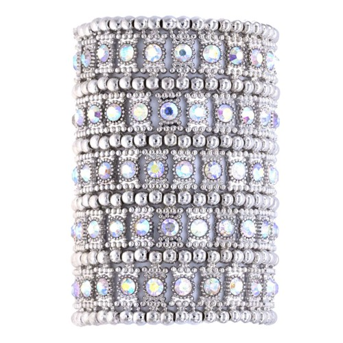Rhodium Plated with AB Crystals 5 Rows Stretch Bracelet Fashion Trendy Jewelry Party Prom for Women