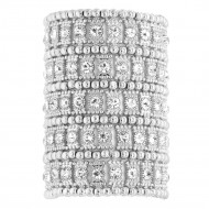 Rhodium Plated Crystals 5 Rows Stretch Bracelet Fashion Trendy Jewelry Party Prom for Women