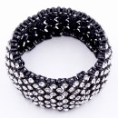 Black Rhodium Plated With Clear Crystal Stretch Bracelets