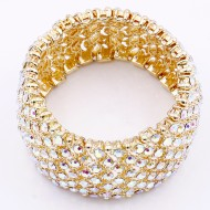 Gold Plated AB Crystal Stretch Bracelets Tennis Rhinestone Bridal Evening Party Jewelry for Woman Bangle
