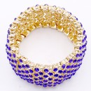 Gold Plated with Royal Blue Crystal Stretch Bracelets Tennis Rhinestone Bridal Evening Party Jewelry for Woman Bangle