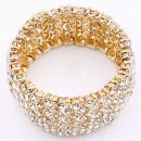 Gold Plated Crystal Stretch Bracelets Tennis Rhinestone Bridal Evening Party Jewelry for Woman Bangle