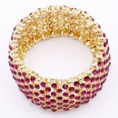 Gold Plated With Fascia Crystal Stretch Bracelets Tennis Rhinestone Bridal Evening Party Jewelry for Woman Bangle
