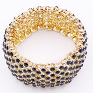 Gold Plated With Montana Blue Crystal Stretch Bracelets Tennis Rhinestone Bridal Evening Party Jewelry for Woman Bangle