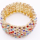Gold Plated With Multi color Crystal Stretch Bracelets Tennis Rhinestone Bridal Evening Party Jewelry for Woman Bangle