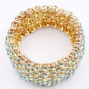Gold Plated With Green AB Crystal Stretch Bracelets Tennis Rhinestone Bridal Evening Party Jewelry for Woman Bangle