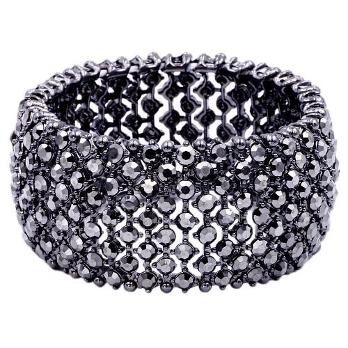 Hematie Crystal Stretch Bracelets Tennis Rhinestone Bridal Evening Party Jewelry for Woman Bangle