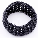 Jet Black Crystal Stretch Bracelets Tennis Rhinestone Bridal Evening Party Jewelry for Woman Bangle
