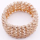 Rose Gold Plated With Peach Crystal Stretch Bracelets Tennis Rhinestone Bridal Evening Party Jewelry for Woman Bangle