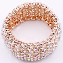 Rose Gold Plated WIth AB Crystal Stretch Bracelets Tennis Rhinestone Bridal Evening Party Jewelry for Woman Bangle