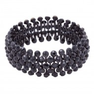 Jet Black Tennis 5 Row Rhinestone Stretch Bracelets Bridal Evening Party Jewelry For Woman Bangle