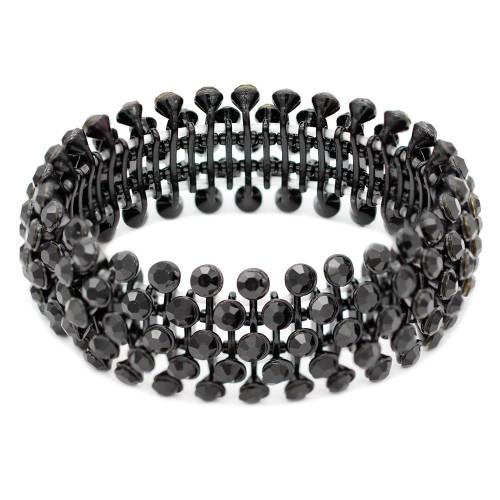 Jet Black Tennis 5 Row Rhinestone Stretch Bracelets Bridal Evening Party Jewelry For Woman Bangle