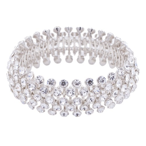 Rhodium Plated with Crystal Stretch Bracelets Tennis 5 Row Rhinestone Bridal Evening Party Jewelry For Woman Bangle